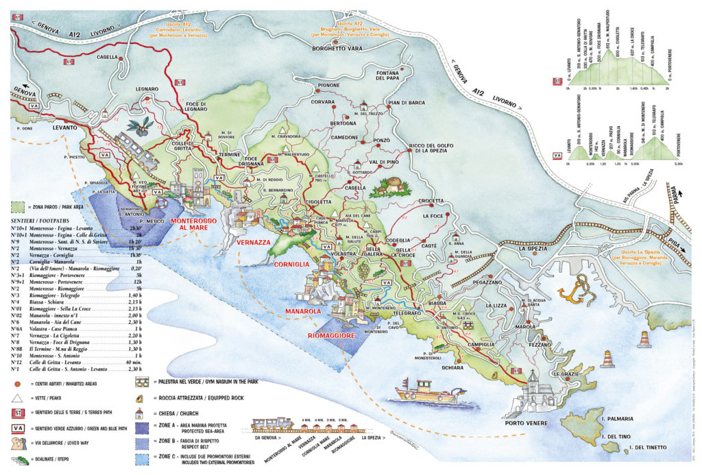 Map of paths CInque terre