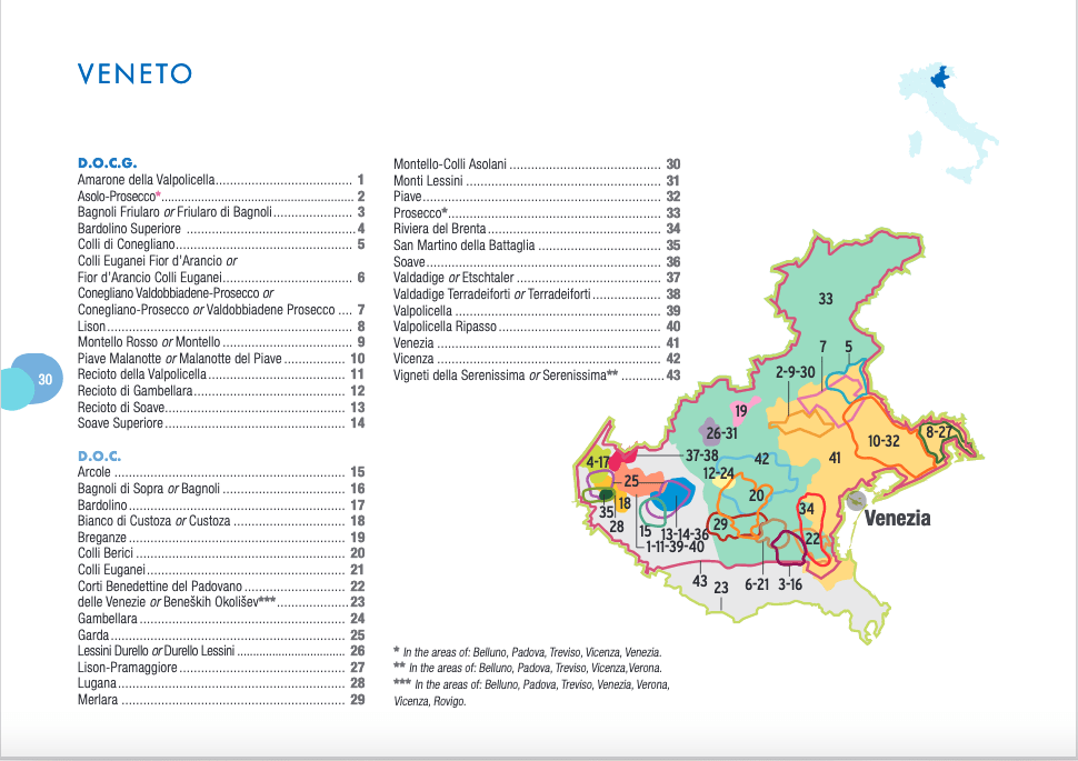 Map of Veneto region and its wine areas